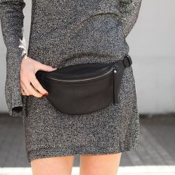 Daphnyraes.com Small Black Leather Waist Bag By DAPHNY RAES: Fannypack Outfits Street Style Ideas