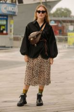 Fashionista.com On The Street At #NYFW. #streetstyle #leopard #animalprint #fannypack