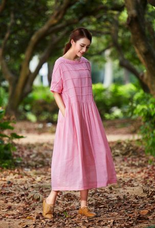 Pink sleeve dress idea for daily action 03 fashion