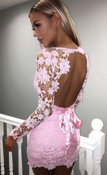 Pink sleeve dress idea for daily action 24 fashion
