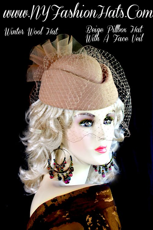 c4d055dd6 Ladies Camel Beige Designer Winter Wool Pillbox Hat Hats, Fashion Hats, Hats  For Weddings