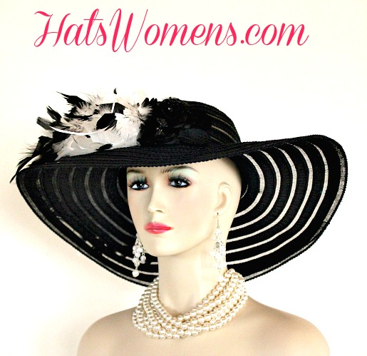 623767a6 Black Wide Brim Designer Special Occasion Church Hat, Dress Hats With  Feathers, Custom Church