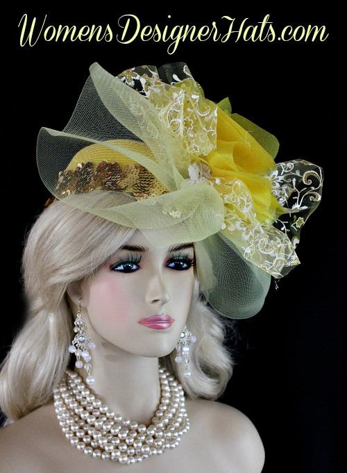 c21ff8bc Yellow White Metallic Gold Couture Designer Pillbox Wedding Bridal Hat  Cocktail Hat Headpiece
