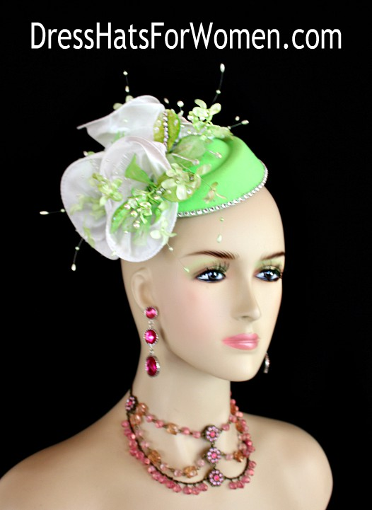 6a18ca47 Ladies Lime Green White Wedding Bridal Fascinator, Pillbox Hats For Women, Cocktail  Hats,