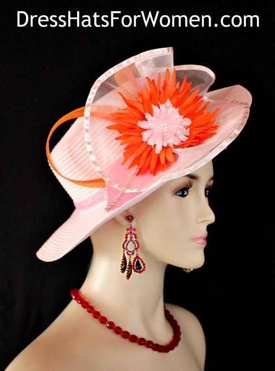 f7a93ea2 Women's Designer Pink Orange Brim Fashion Hat For Church, Dress Hats For  Weddings Formals Special