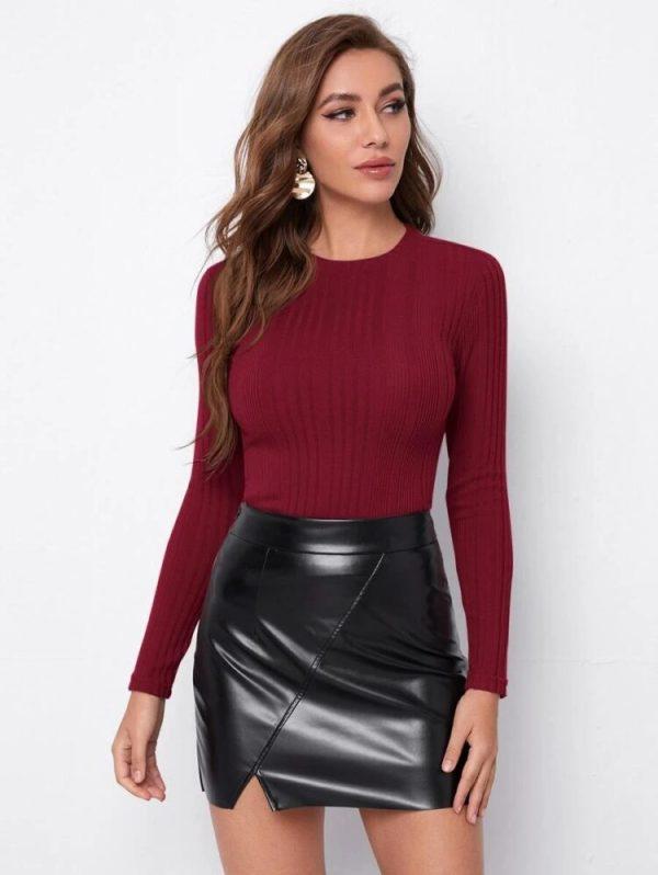 Дамска блуза в цвят бордо