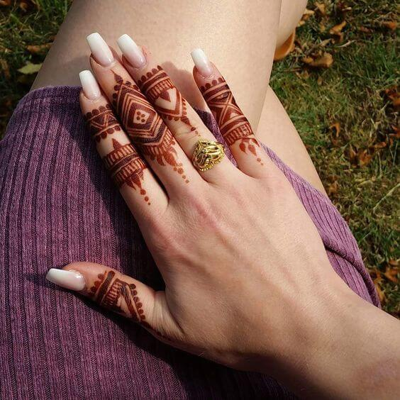 on fingers only back hand henna design