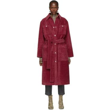 acne-fuchsia-Pink-Corduroy-Long-Coat