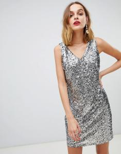 pieces-Silver-Sequin-V-Neck-Shift-Dress