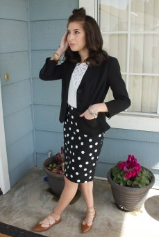 Outfit with polka dot skirt. (PC: Christina Johnston)