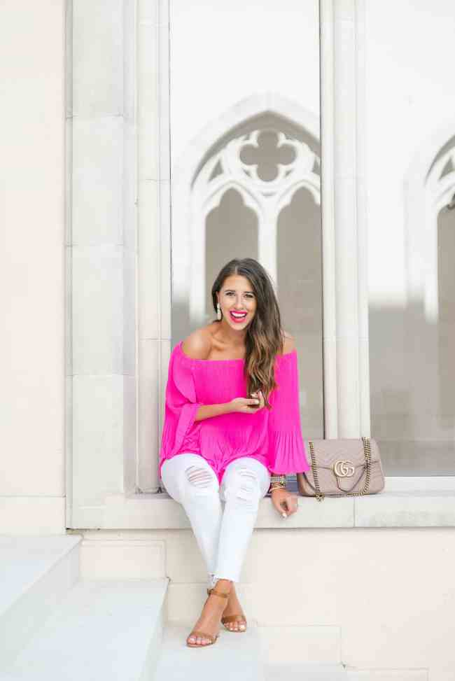 Dress Up Buttercup, Dede Raad, Houston blogger, Fashion Blogger, Pink, off the shoulder, white jeans