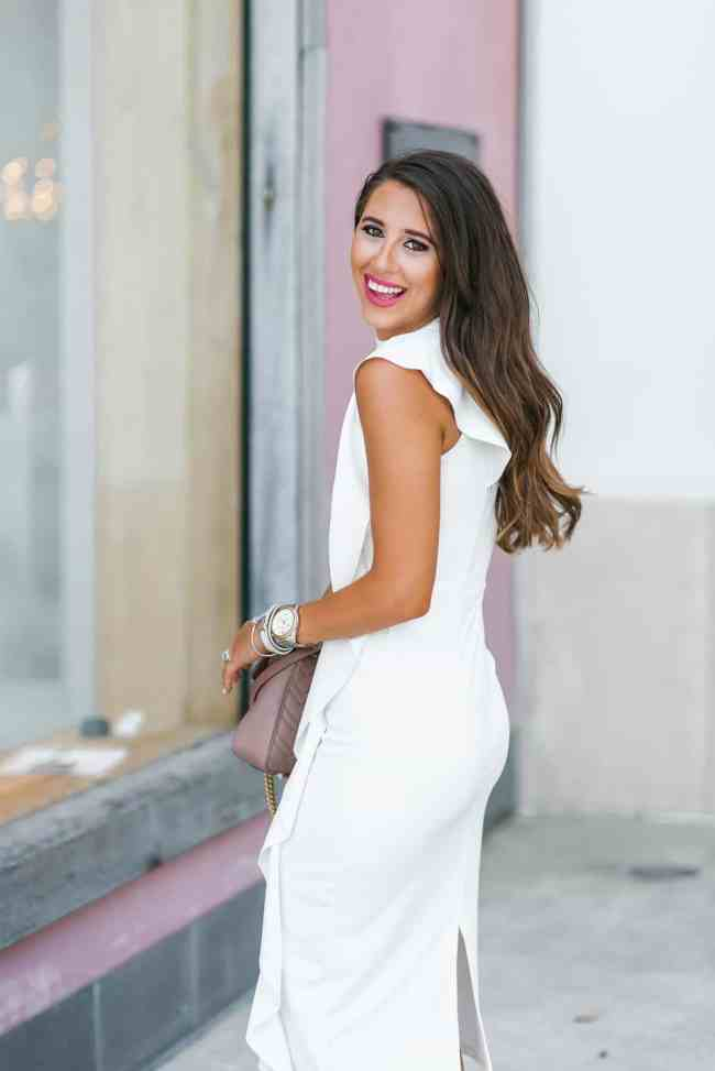 White ruffle midi dress, top shop, Nordstrom, dress up buttercup, dede raad, houston blogger, fashion blogger