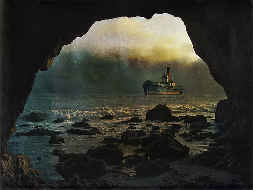 a picture of a cave