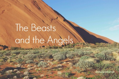"""a desert scene - """"The Beasts and the Angels"""" a homily about the Temptation - visit drewdowns.net"""