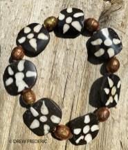 Batik Kenyan Bone Sun Design Beads and Copper Ethiopian Prayer Beads