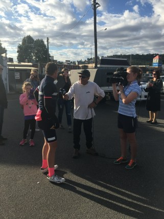 Landers being interview after a record of 800km.