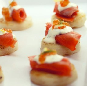 Wild BC Smoked Salmon on Potato Pavé - Canapés and Platters Menu