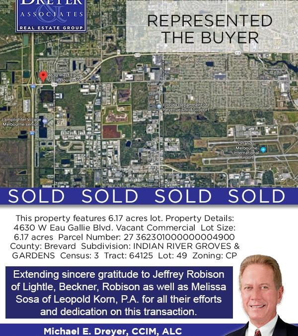 Eau Gallie Vacant Land SOLD! 6.17 Acres, Zoned Commercial