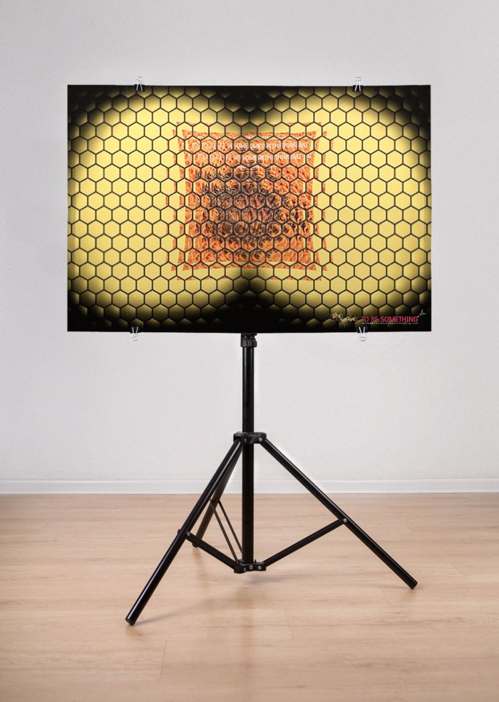 """self-publication promoting readership """"eye of fly"""" poster, in scale with tripod 