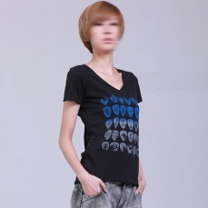 black womenswear v-neck short sleeves tee gradated blue print picks of rock funky design icon on model | British Fashion Denim Retail Brand – Lee Cooper in China :: RDLC collection fashion graphics