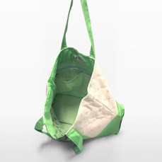 melon green parent bag hanging to show interior design   Green Baby Garden :: series of Upcycling Product Development