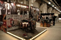 highlights scene, hired model sitting on Lee Cooper's sidecar-bike, in 2010 Novo Mania Shanghai | British Fashion Denim Retail Brand - Lee Cooper in China :: retailing trade show and fabrication management