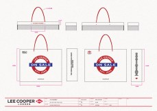 VMD design final sale shopping bag large size, white paper, red handle | British Fashion Denim Retail Brand – Lee Cooper in China :: retail design & retailing graphics