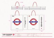 final sale medium white shopping bag red string handle, red blue graphics, UK heritage   British Fashion Denim Retail Brand - Lee Cooper in China :: retail design & retailing graphics