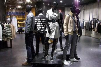 black steel wheeled raised platform, for mannequins in-store group display VMD   British Fashion Retail Brand – Magnum London :: Visual Merchandising