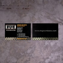 old brand identity logo on obsolete business card front and back before revamp design   British Tactical Apparel Wholesale Brand – Magnum Essential Equipment :: branding