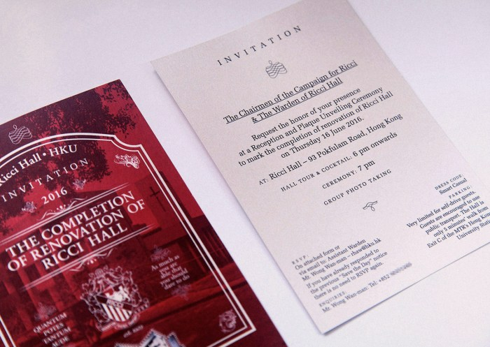 Ricci Hall :: front and back, invitation design for renovation completion ceremony