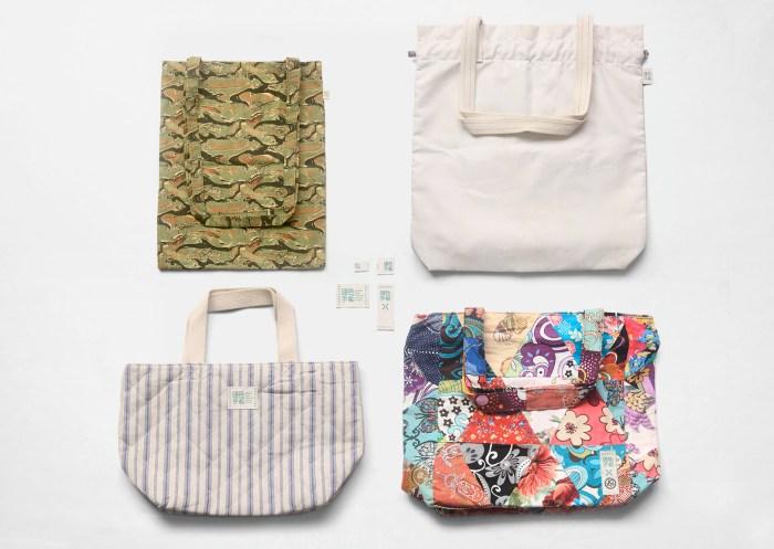 top view, labels on 4 sample of merchandisies | Green Hands :: lUpcycling DIY Merchandises Brand :: Branding and Packaging Design