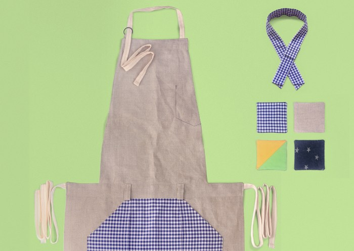 Art Space with Vegetarian Café in Hong Kong : : Retail Identity and Zakka Creation (apron, blue white gingham check, necherchief, 4 cup mats)