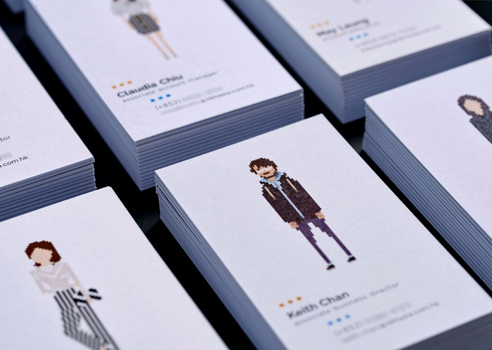 A leading Asian Digital Marketing Agency Brand based in Hong Kong and office in South Korea :: Identity Revamp and New Business Card Design :: business card, name card, dynamic branding, personalisation pixelated figures of every individuals, black table top, anglar view, 3 x 3, 9 decks, focusing on KC stylish man with beard