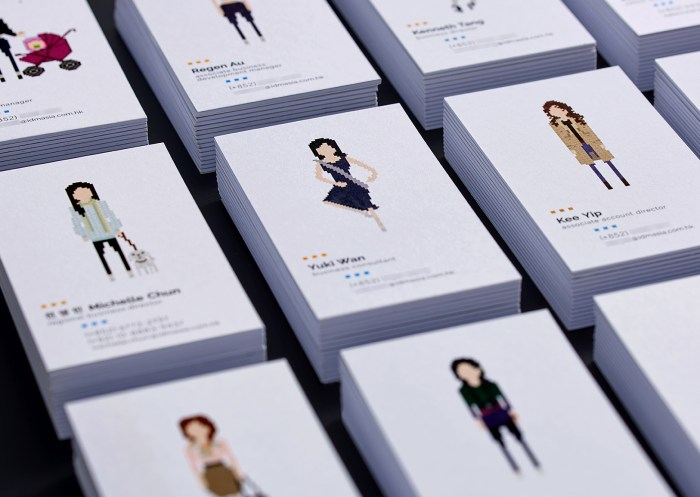 A leading Asian Digital Marketing Agency Brand based in Hong Kong and office in South Korea :: Identity Revamp and New Business Card Design :: business card, name card, 12 decks, dynamic branding, personalisation pixelated figures of every individuals, black table top, anglar view focusing on YW ballet dancing, 4 x 3 arrangement