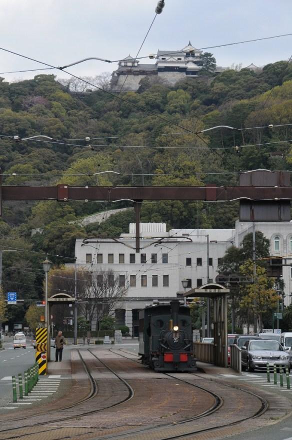 松山城をバックに