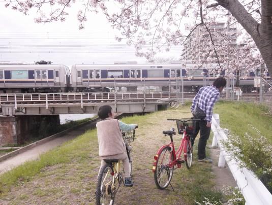 芥川の親子自転車