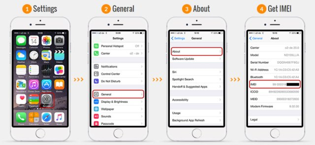 how to look up emei number on iphone