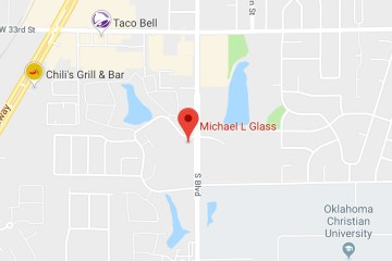 Google Maps map pointer signifying location of Dr. Michael Glass's OBGYN office in Edmond, OK