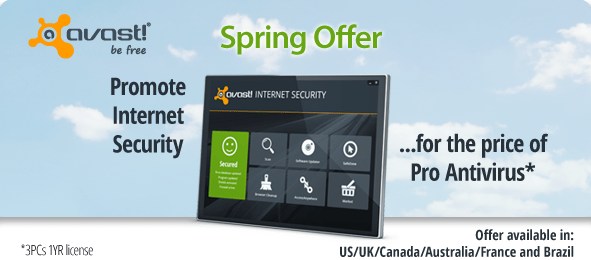 avast! Promote Internet Security for the price of Pro Antivirus*