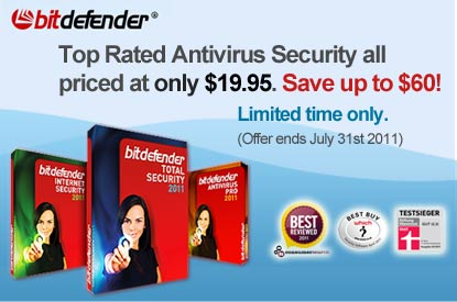 Promote BitDefender Antivirus Pro 2011, Internet Security 2011 or Total Security 2011 3PCs 1YR all at $19.95 each. Save up to an incredible $60!