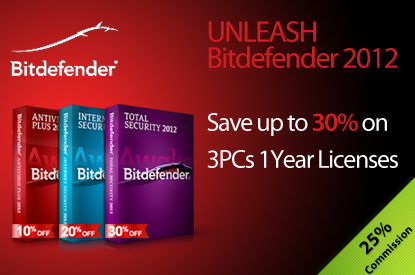 BitDefender UK – Save up to 30% on 3PCs 1 Year Licenses - 25% Commision