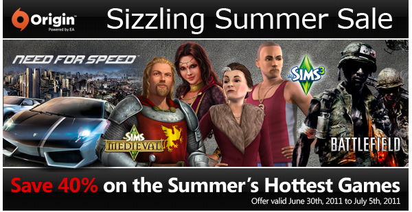 Sizzling Summer Sale | Save 40% on the Summer's Hottest Games | Offer valid June 30th, 2011 to July 5th, 2011