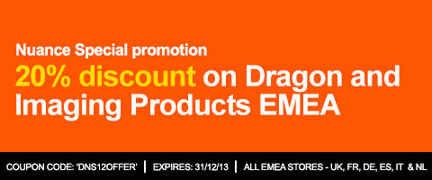 20% discount on Dragon and Imaging Products EMEA! Coupon Code – DNS12OFFER – Offer Valid in UK, DE, FR, ES, IT and NL