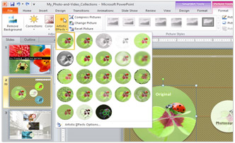 Screenshot: Artistic Effects in Microsoft Office 2010 PowerPoint