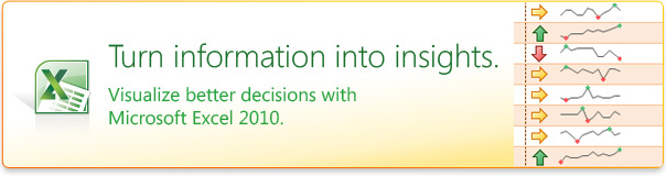 Turn information into insights. Visualize better decisions with Microsoft Excel 2010.