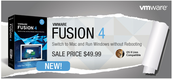 VMware Fusion 4 - Switch to Mac and Run Windows without Rebooting | SALE PRICE $49.99 | NEW!