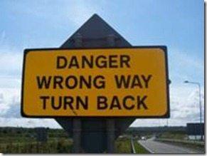 Danger Wrong Way road sign