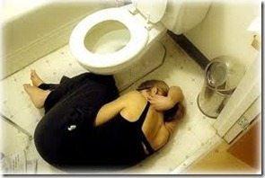 woman on bathroom floor