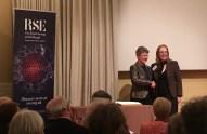 Dame Jocelyn Bell Burnell congratulates Hazel Hall on her RSE fellowship